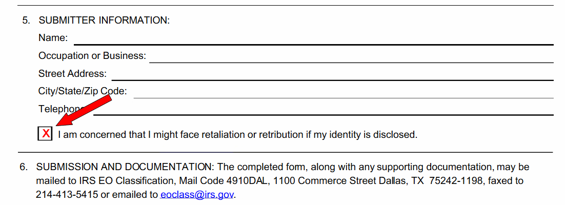 Time to 13909 the Church of Scientology – Irs Complaint Form